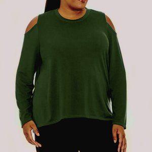 Xersion Cold Shoulder Tunic Long Sleeve Plus Shirt